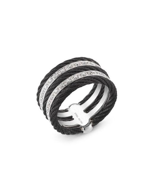 Alor - Black Noir Diamond, Stainless Steel And 18k Gold Ring - Lyst