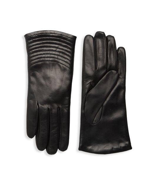 Portolano Black Quilted Wave Leather Gloves