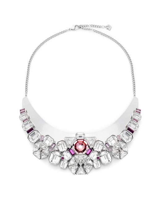 Swarovski - Metallic Clear & Pink Crystal Bib Necklace - Lyst