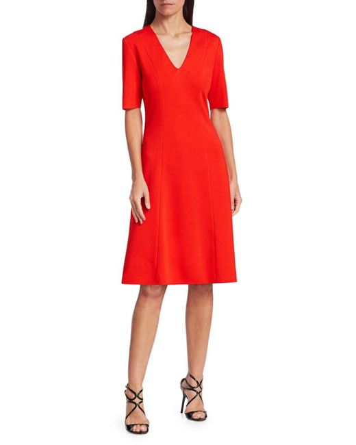 St. John Red Women's Milano Knit Midi Dress - Geranium - Size 12