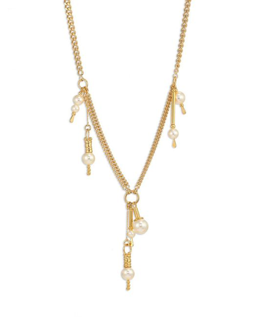 Chloé - Metallic Kay Faux-pearl Chain Necklace - Lyst
