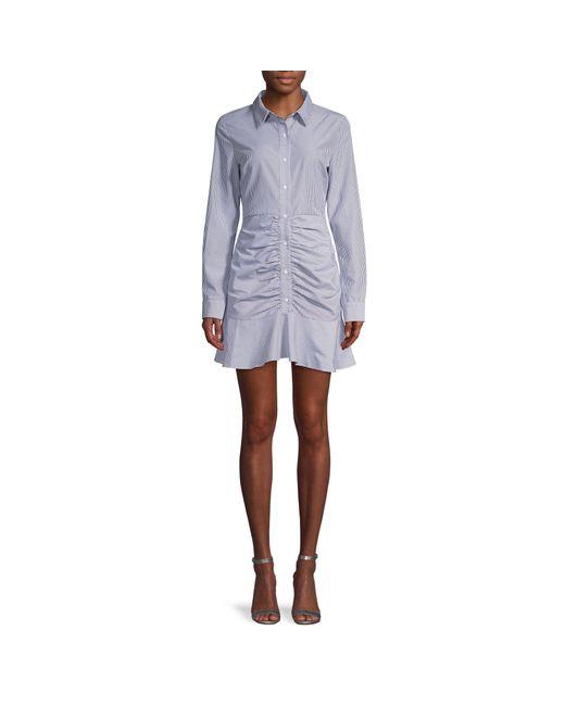 English Factory Blue Striped Long-sleeve Shirtdress