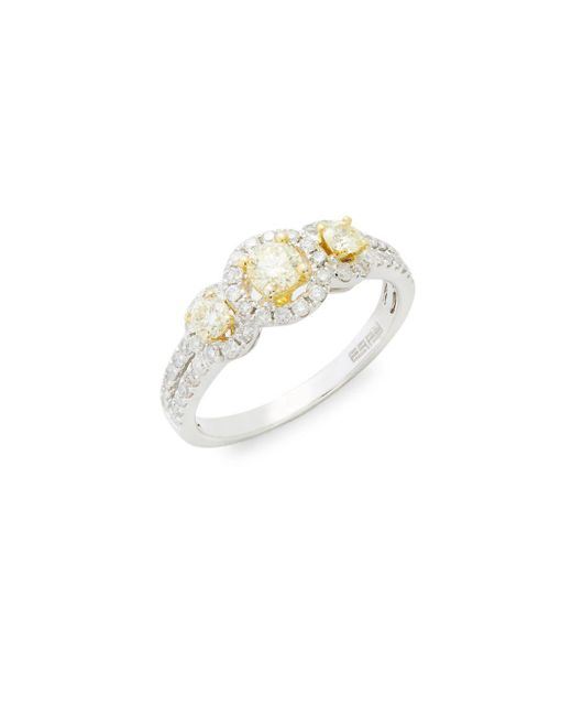 Effy - Metallic Diamond & 14k White/yellow Gold Solid Fill Band Ring - Lyst