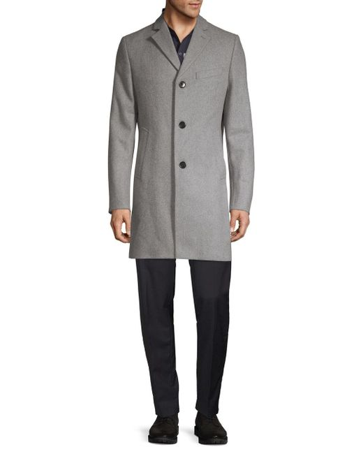 J.Lindeberg Gray Notch-lapel Wool-blend Car Coat for men