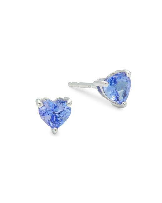 Effy Metallic Women's Sterling Silver & Tanzanite Heart Stud Earrings