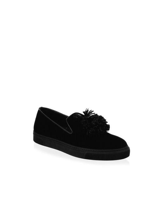 Louis Leeman Black Slip-on Velvet Sneakers for men