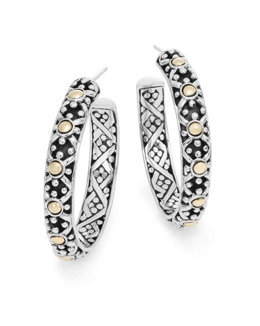 John Hardy   Metallic Jaisalmer Sterling Silver & 18 Yellow Gold Hoop Earrings   Lyst