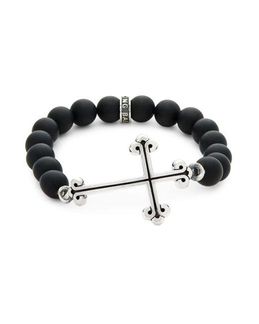 King Baby Studio - Black Onxy Bead Cross Bracelet - Lyst