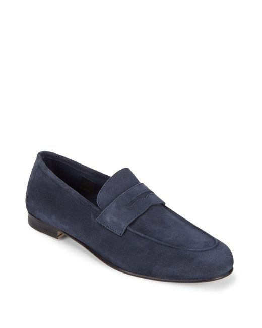 Saks Fifth Avenue - Blue Flex Leather Penny Loafers for Men - Lyst