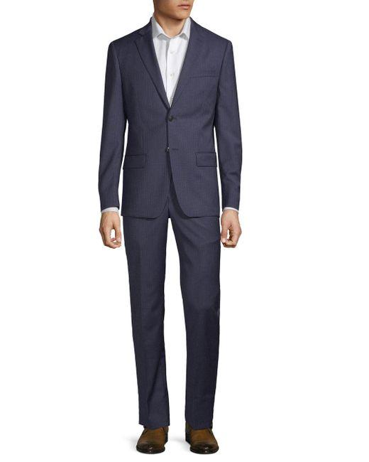 John Varvatos Blue Striped Slim Wool Suit for men