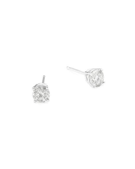 Effy - Metallic Diamond And 18k White Gold Stud Earrings - Lyst