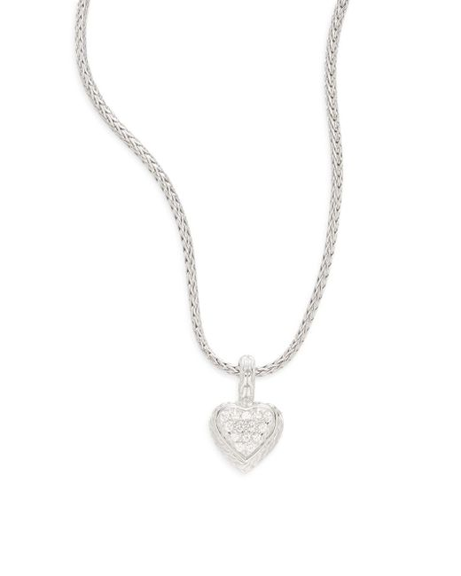 John Hardy - Metallic White Sapphire & Sterling Silver Small Heart Pendant Necklace - Lyst