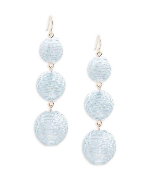Gemma Simone | Blue Multicolor Triple Drop Pom-pom Earrings | Lyst