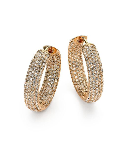 Adriana Orsini | Metallic Pavà Crystal & 18k Goldplated Inside-outside Hoop Earrings/0.75"
