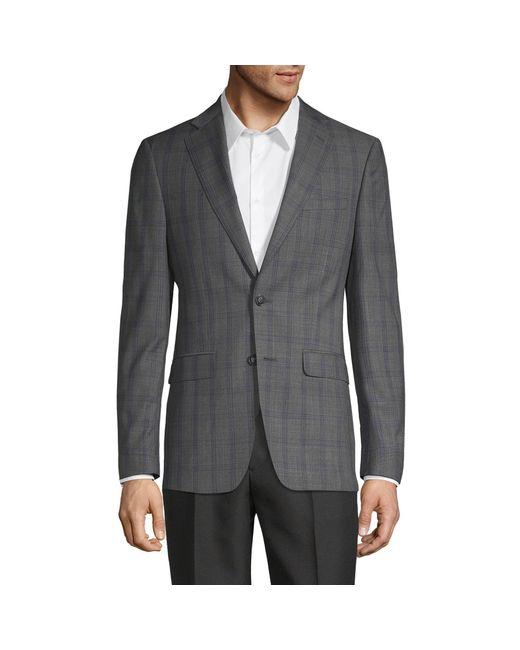 Calvin Klein Gray Windowpane Wool-blend Jacket for men