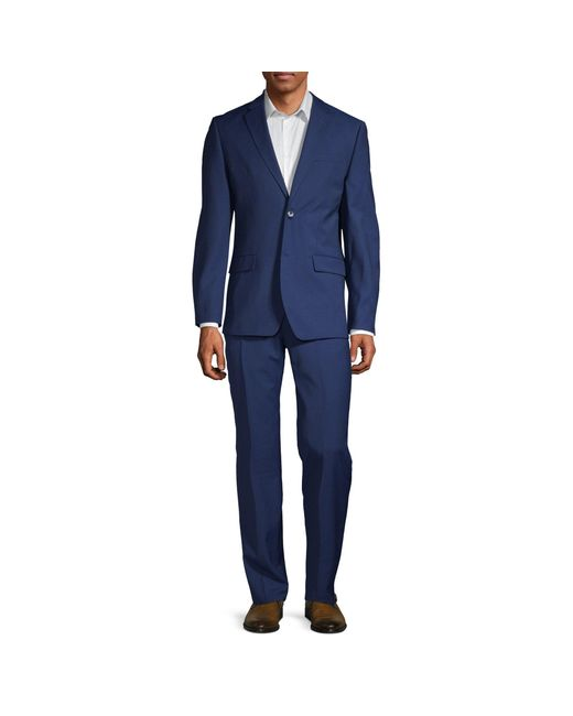 Ben Sherman Blue 2-pieceslim Fit Two-button Stretch Wool-blend Suit for men