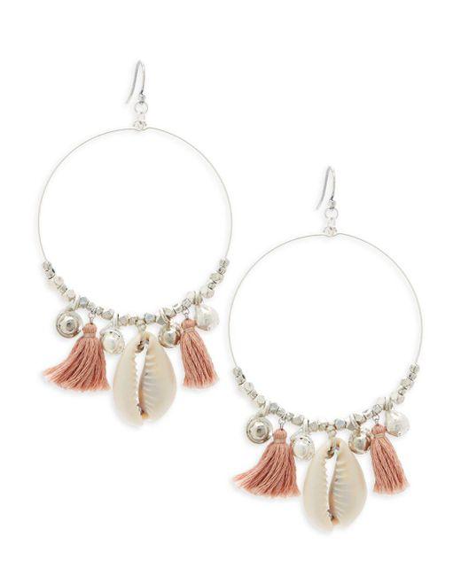 Chan Luu - Metallic Sterling Silver Tassel Hoop Earrings - Lyst