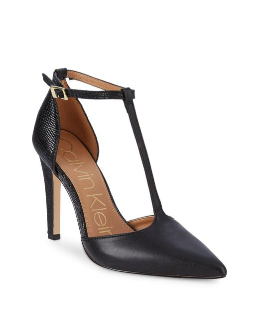 Calvin Klein - Black Brandy T-strap D'orsay Pumps - Lyst