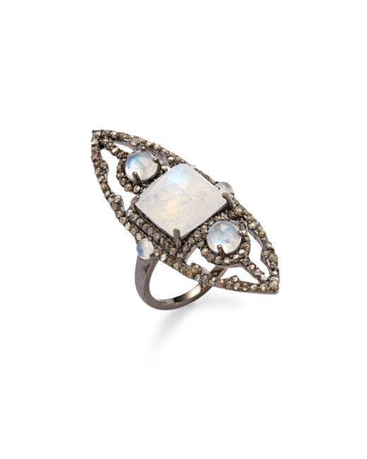 Bavna - Metallic Diamond, Moonstone & Sterling Silver Ring - Lyst