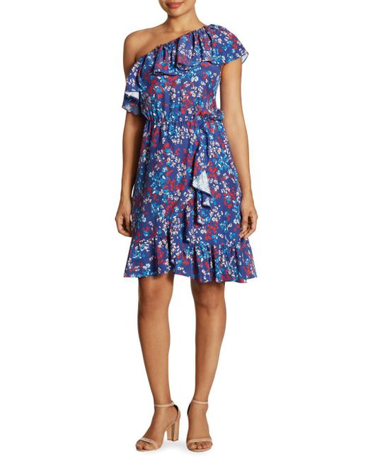 Parker Blue Beverly Ruffled One-shoulder Silk Dress