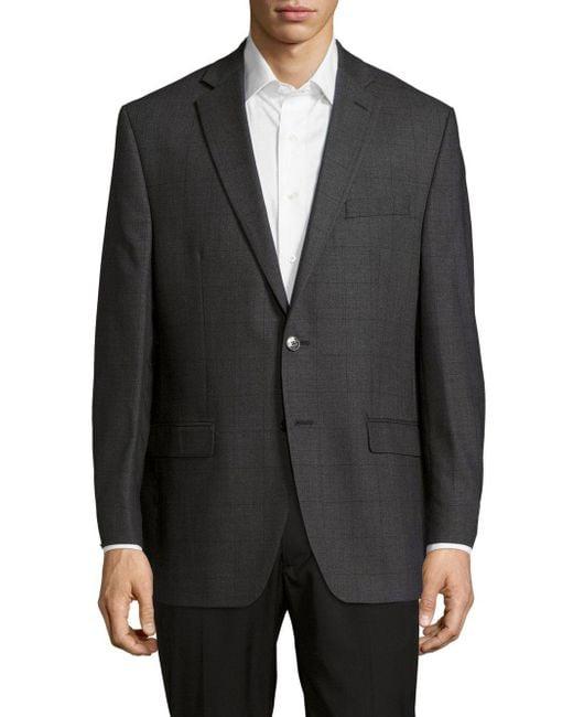 Calvin Klein - Gray Textured Notched-lapel Woolen Jacket for Men - Lyst