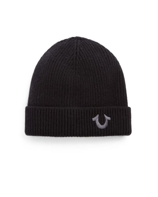 True Religion - Black Logo Knit Watchcap for Men - Lyst