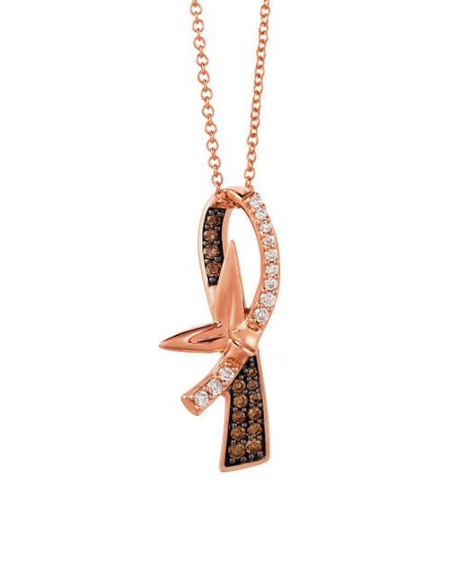 Le Vian - Metallic 14k Strawberry Gold Vanilla Diamonds & Chocolate Diamonds Loop Pendant Necklace - Lyst
