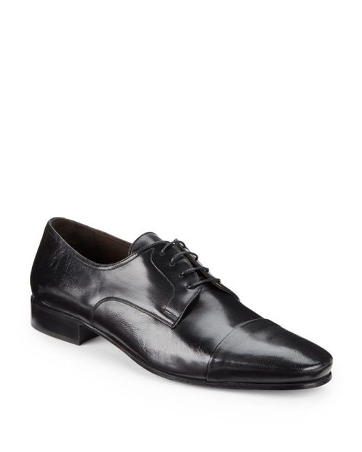 Bruno Magli - Black Martico Leather Cap-toe Dress Shoes - Available In Extended Sizes - Lyst