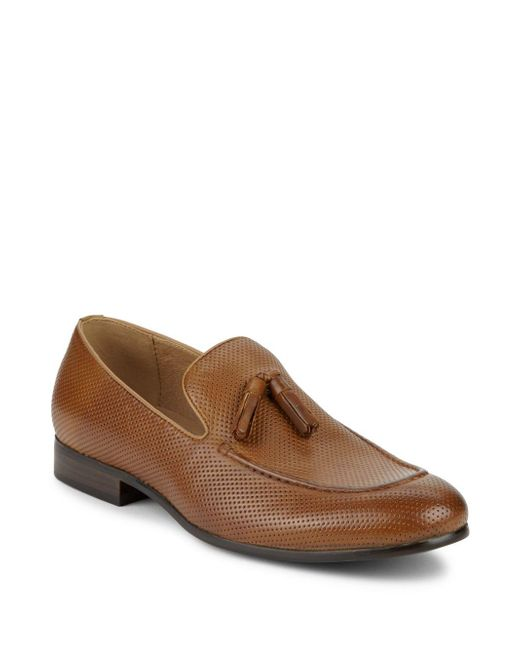 Saks Fifth Avenue - Brown Lawson Perforated Tassel Loafers for Men - Lyst