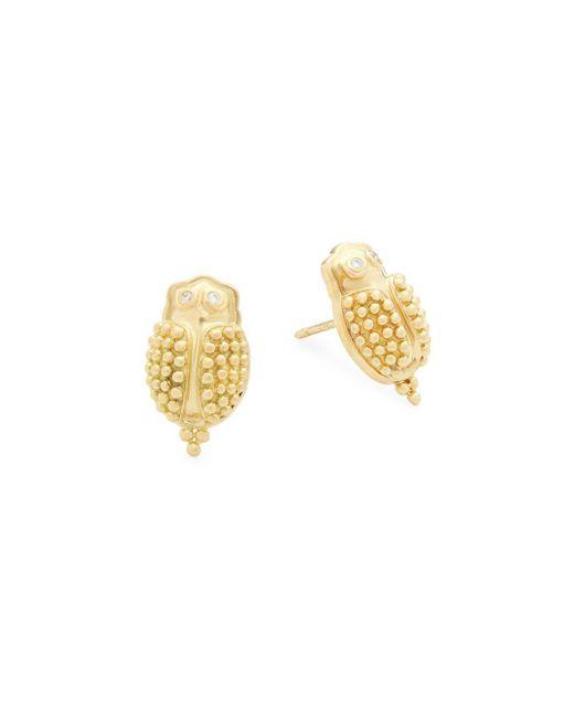 Temple St. Clair - Metallic Scarab Diamond & 18k Yellow Gold Stud Earrings - Lyst