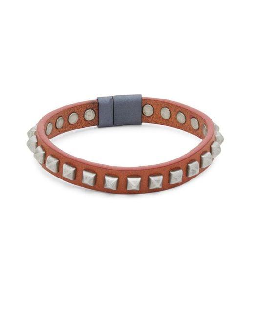 Tateossian - Brown Pyramid Studded Leather Bracelet - Lyst