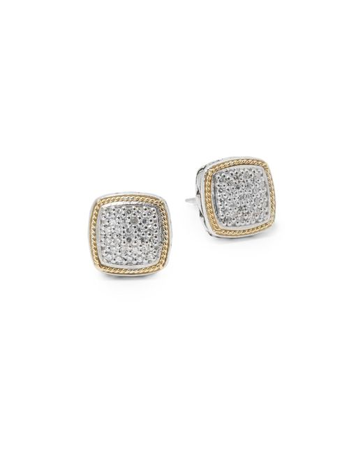 Effy Metallic Diamond In 18k Gold & Sterling Silver Square Earrings