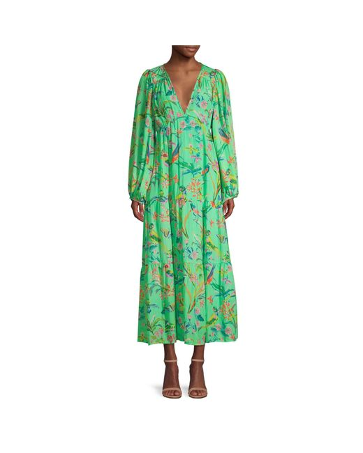 brand: Banjanan Green Laura Long Sleeve Blouse Maxi Dress