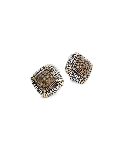 Effy Gray Sterling Silver & 18k Yellow Gold Brown Diamond Earrings