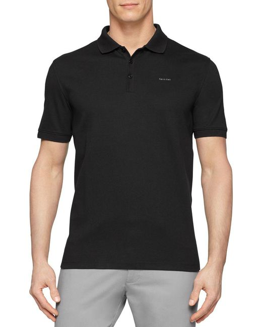Calvin Klein | Black Cotton Polo Shirt for Men | Lyst