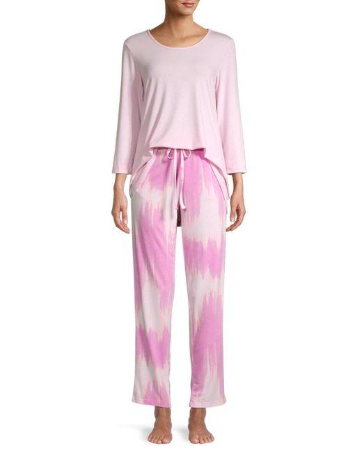 Natori Pink Women's 2-piece Solid & Tie-dye Pajama Set - Coral - Size L
