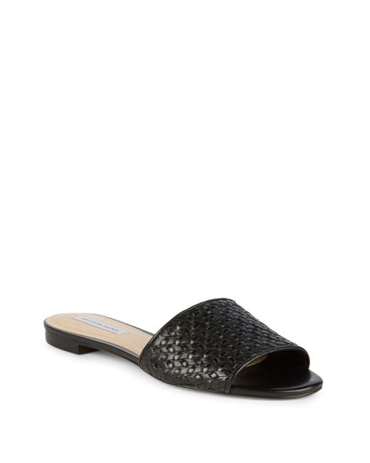 Saks Fifth Avenue - Black Woven Leather Slide - Lyst