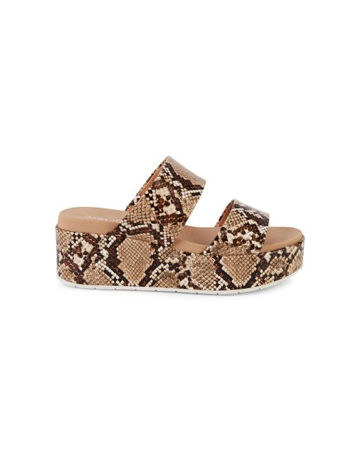 J/Slides Brown Quincy Snake-print Leather Platform Sandals