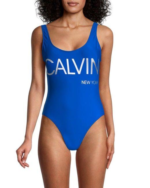 Calvin Klein Women's Logo One-piece Swimsuit - Klein Blue - Size S