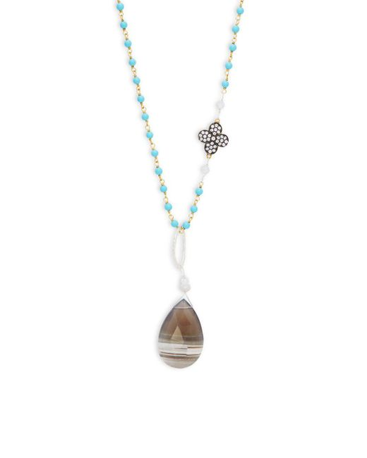 Alanna Bess | Metallic Periwinkle Druzy Necklace | Lyst