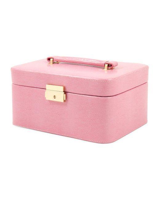 Bey-berk Pink Debossed Leather Jewelry Box