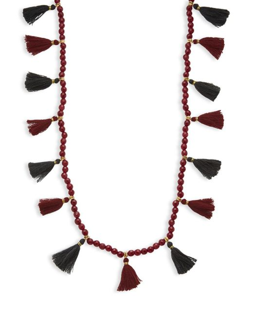 Panacea - Red Bead Strand Tassel Necklace - Lyst