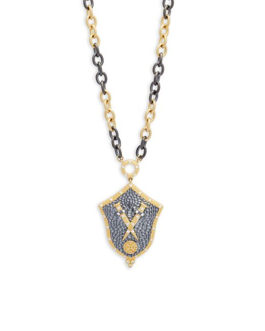 Freida Rothman - Metallic Crystal And Sterling Silver Armor Pendant Necklace - Lyst