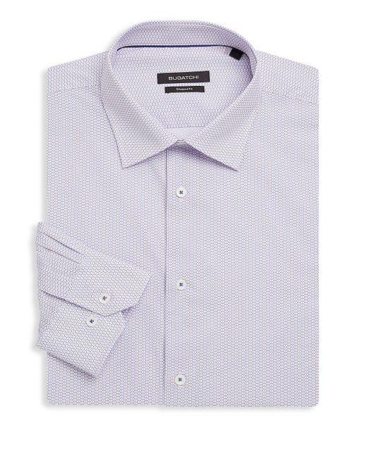 Bugatchi - Blue Shaped-fit Printed Cotton Dress Shirt for Men - Lyst