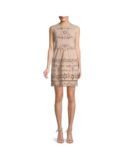 RED Valentino Natural Laser-cut Suede Mini Dress