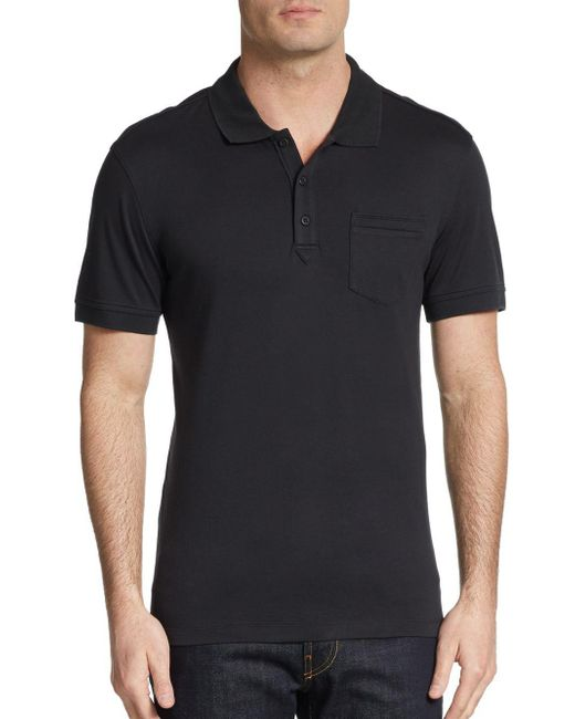 Saks Fifth Avenue | Black Slim Ice Cotton Polo Shirt for Men | Lyst