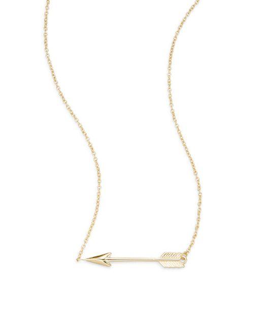 Saks Fifth Avenue - Metallic 14k Yellow Gold Arrow Pendant Necklace - Lyst