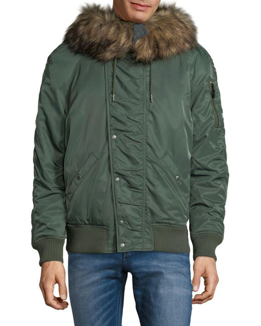 CALVIN KLEIN 205W39NYC - Green Faux Fur-trimmed Jacket for Men - Lyst