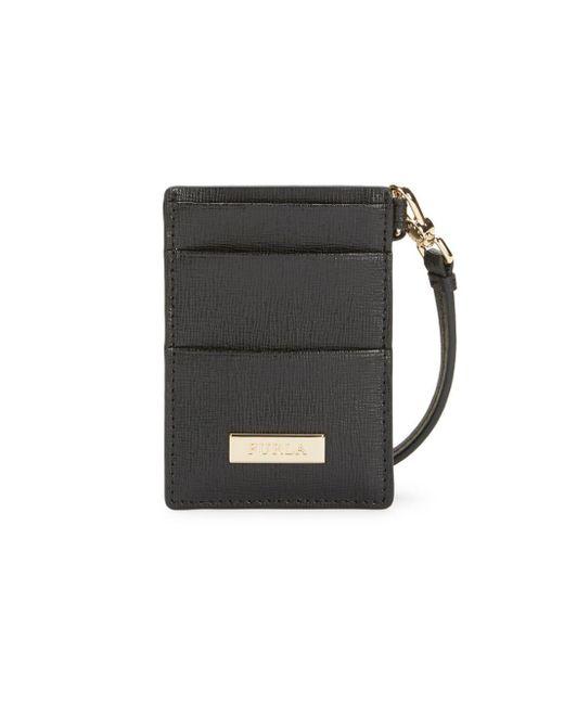 Furla Black Oxford Leather Card Case