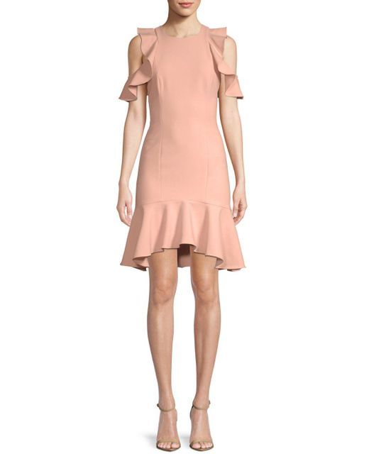 Cinq À Sept - Pink Micah Ruffle Short-sleeve Sheath Dress - Lyst